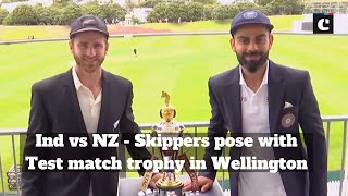 Ind vs NZ: Skippers pose with Test match trophy in Wellington
