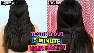 Testing Out 5 Minute Crafts Hair Styles Hacks | Nidhi Katiyar