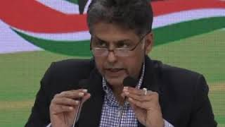 Manish Tewari addresses media at Congress HQ on appointing CVC and VC
