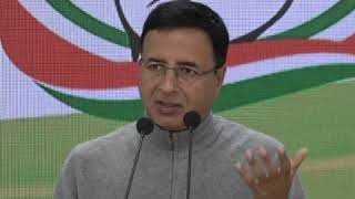 Randeep Singh Surjewala addresses media at Congress HQ on Pradhan Mantri Fasal Bima Yojana