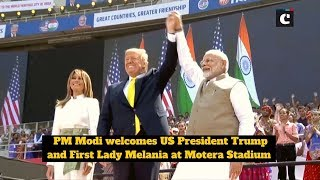 PM Modi welcomes US President Trump and First Lady Melania at Motera Stadium