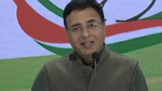 Randeep Singh Surjewala addresses media at Congress HQ on Delhi Violence