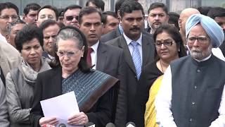 Congress President Sonia Gandhi addresses media after meeting with the President on Delhi Violence