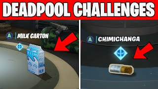 Deadpool Challenges - Deadpool's Chimichangas around HQ & Deadpool's Milk carton Fortnite