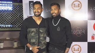 Cricketer Hardik Pandya With Krunal Pandya Attends Friend Kushal's New Restaurant Arbour28 Launch
