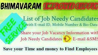 BHIMAVARAM     EMPLOYEE SUPPLY   ! Post your Job Vacancy ! Recruitment Advertisement ! Job Informati