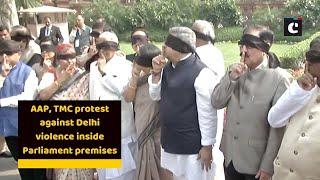 AAP, TMC protest against Delhi violence inside Parliament premises