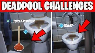 Deadpool Challenges - Find Deadpool's toilet plunger & Destroy Toilets Fortnite
