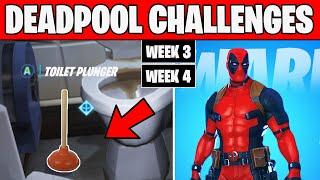 Week 3 & Week 4 Deadpool Challenges Fortnite Chapter 2 Season 2 (Toilet Plunger & Destroy Toilets)