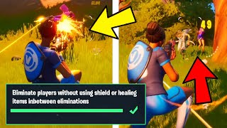 ELIMINATE PLAYERS WITHOUT USING SHIELD OR HEALING ITEMS INBETWEEN ELIMINATIONS  Fortnite
