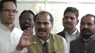 Adhir Ranjan Chowdhury addresses media in Parliament House on the suspension of Congress MPs