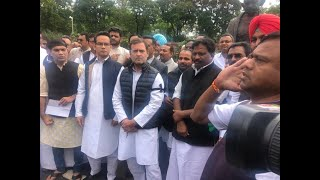 Shri Rahul Gandhi and Congress MPs protest outside the parliament over suspension of 7 Congress MPs