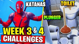Deadpool Challenges - Toilet Plunger , Destroy Toilets , Deadpool's Katanas (Week 3 & Week 4)