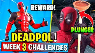 Deadpool Week 3 Challlenges - Find Toilet Plunger , Destroy Toilets! Fortnite Chapter 2 - Season 2