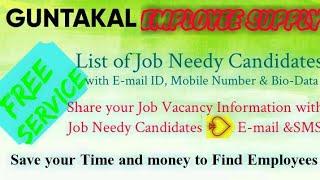 GUNTAKAL    EMPLOYEE SUPPLY   ! Post your Job Vacancy ! Recruitment Advertisement ! Job Information