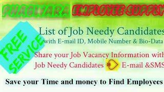 PHAGWARA      EMPLOYEE SUPPLY   ! Post your Job Vacancy ! Recruitment Advertisement ! Job Informatio