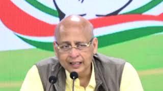 Abhishek Manu Singhvi addresses media at Congress HQ on LIC disinvestment