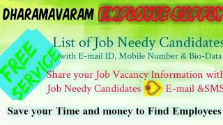 DHARAMAVARAM      EMPLOYEE SUPPLY   ! Post your Job Vacancy ! Recruitment Advertisement ! Job Inform