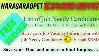 NARASARAOPET      EMPLOYEE SUPPLY   ! Post your Job Vacancy ! Recruitment Advertisement ! Job Inform