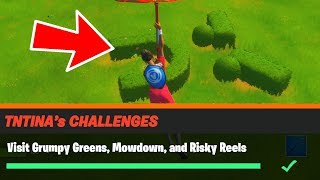 Visit Grumpy Greens, Mowdown, and Risky Reels Fortnite