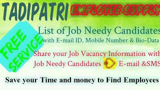 TADIPATRI     EMPLOYEE SUPPLY   ! Post your Job Vacancy ! Recruitment Advertisement ! Job Informatio