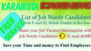 KARAIKUDI     EMPLOYEE SUPPLY   ! Post your Job Vacancy ! Recruitment Advertisement ! Job Informatio