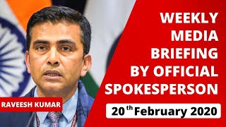 Weekly Media Briefing by Official Spokesperson (February 20, 2020)