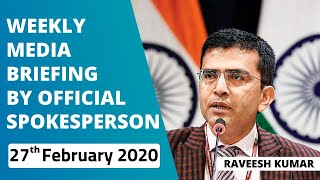 Weekly Media Briefing by Official Spokesperson (February 27, 2020)