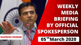 Weekly Media Briefing by Official Spokesperson (March 5, 2020)