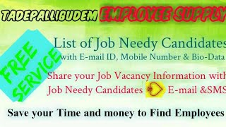 TADIPALLIGUDEM     EMPLOYEE SUPPLY   ! Post your Job Vacancy ! Recruitment Advertisement ! Job Infor