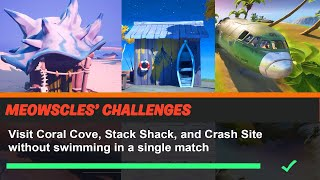 Visit Coral Cove, Stack Shack, and Crash Site without swimming in a single match Fortnite