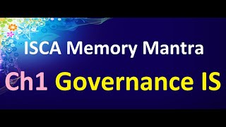 Ch1 ISCA Governance and Management  Memory Mantra || Abhinav Jha CA CS ||  DT AND IDT Videos ||