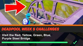 Visit the Red, Yellow, Green, Blue, Purple Steel Bridges Fortnite