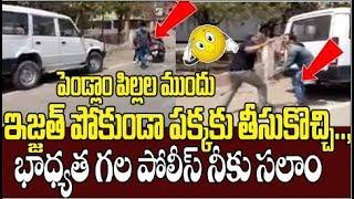 Police Punished Man Behind Police Vehicle | 21 Days Country Lock Down | Telangana | Top Telugu TV