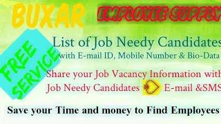 BUXAR    EMPLOYEE SUPPLY   ! Post your Job Vacancy ! Recruitment Advertisement ! Job Information ! 1