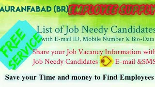 AURANGABAD BR   EMPLOYEE SUPPLY   ! Post your Job Vacancy ! Recruitment Advertisement ! Job Informat