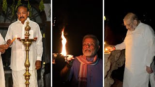 VP Naidu, Amit Shah, Rajinikanth, other leaders light lamps in solidarity against COVID-19