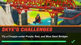 Fly a Choppa under Purple, Red, and Blue Steel Bridges