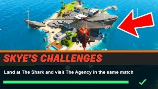 Land at The Shark and visit The Agency in the same match
