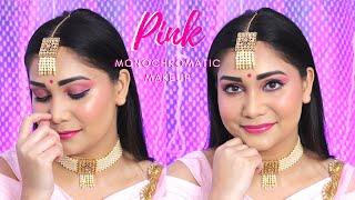 Indian Wedding/Party Makeup in Pink | Pink Monochromatic Makeup for Beginners | Nidhi Katiyar