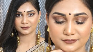 Glowy Brown Monochromatic Makeup | Step By Step Bronzed Makeup - Beginner Friendly | Nidhi Katiyar