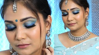 Blue Smokey Eye Makeup look | Blue Monochromatic Makeup | Blue Eye shadow  | Nidhi Katiyar