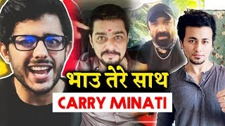 Hindustani Bhau Comes In SUPPORT Of Carry Minati In Youtuber Vs Tik Toker Controversy | Ajaz Khan