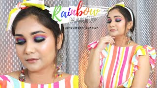 Easy Rainbow Makeup Step By Step using Affordable makeup | Nidhi Katiyar