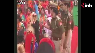 Woman asked by police to remove Burqa during CM Yogi Adityanath's rally