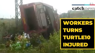 Bus Carrying Migrant Workers Turns Turtle In AP, 10 Injured | Catch News