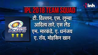 IPL 2018 Teams Players List  - All Teams Players List & Squad | MI ,CSK ,RR ,KKR ,DD ,KXIP ,RCB ,SRH