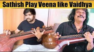 Sathish Play Veena like Vaidhya | AR Rahman's Popular Tamil Song