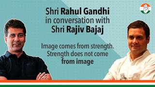 Rahul Gandhi discusses the importance of providing financial support to the people with Rajiv Bajaj