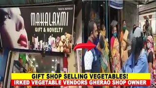 #Pernem | Gift shop selling vegetables!, Irked vegetable vendors gherao shop owner